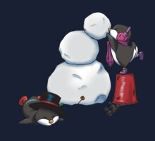 2 penguins, 1 snowman One Piece - Short Sleeve