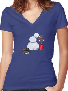 2 penguins, 1 snowman Women's Fitted V-Neck T-Shirt