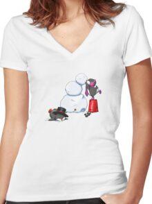 2 penguins, 1 snowman Women's Fitted V-Neck T-Shirt