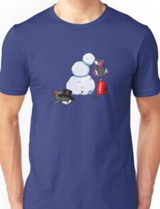2 penguins, 1 snowman Unisex T-Shirt