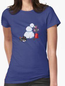 2 penguins, 1 snowman Womens Fitted T-Shirt