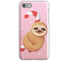 Christmas Candy Cane Baby Sloth iPhone Case/Skin