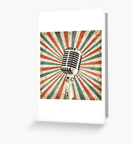 vintage microphone Greeting Card