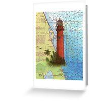 Jupiter Inlet Lighthouse FL Chart Map Cathy Peek Greeting Card