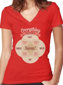 Everything is better with Bacon Women's Fitted V-Neck T-Shirt