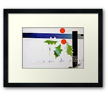 Holly and blue ribbon Framed Print