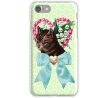 Retro Vintage Floral Cat with Bow iPhone Case/Skin