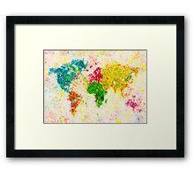 world map painting Framed Print