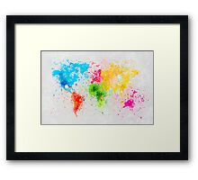 world map painting Framed Print