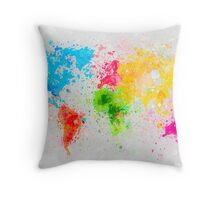 world map painting Throw Pillow