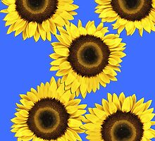 Ipad case - Sunflowers Mid Blue by Mark Podger