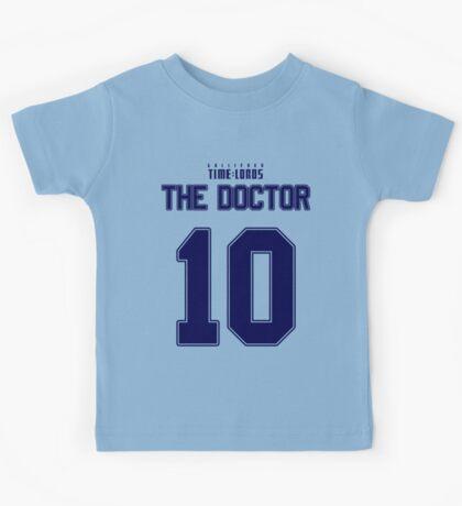 Team Tennant (The Doctor Team Jersey #10) BLUE Kids Tee