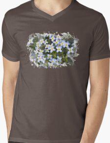Bluet Flowers Watercolor Art Mens V-Neck T-Shirt