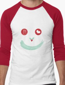 Christmas Peace Love Joy Holiday Smiley Men's Baseball ¾ T-Shirt
