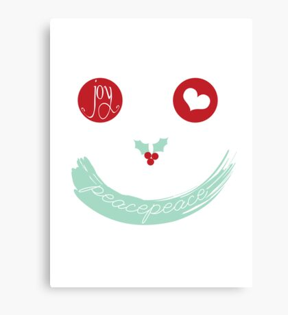Christmas Peace Love Joy Holiday Smiley Canvas Print