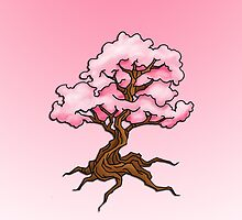 Pink Cherry Blossom Tree by screamingtiki