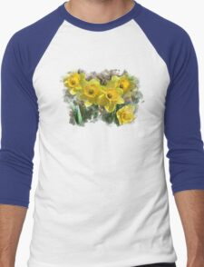 Spring Daffodils Watercolor Art Men's Baseball ¾ T-Shirt