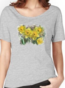 Spring Daffodils Watercolor Art Women's Relaxed Fit T-Shirt