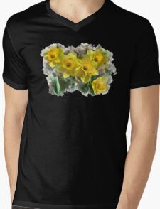 Spring Daffodils Watercolor Art Mens V-Neck T-Shirt