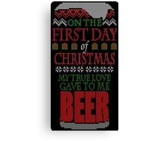 Beer Christmas Sweater Canvas Print
