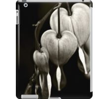 Bleeding Hearts (Dicentra) flowers in black and white iPad Case/Skin
