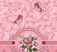 Cute Girly Pink Dots Damask Pattern Rose iPhone 5 / iPhone 4 / Samsung Galaxy Cases  by CroDesign