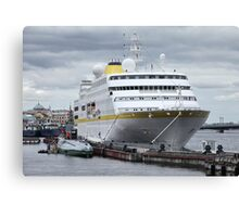 cruise ship at the pier  Canvas Print
