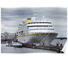 cruise ship at the pier  Poster