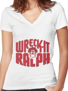 Wreck-It Ralph Women's Fitted V-Neck T-Shirt