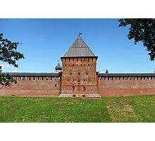 tower and wall of the Novgorod Kremlin Photographic Print