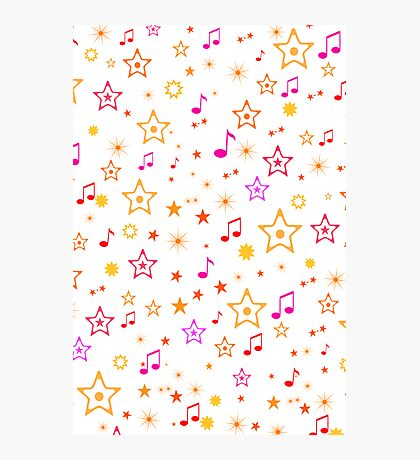 Musical Notes and Stars Photographic Print
