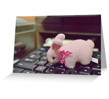 Bunny Collection #5 - a bunny on a keyboard Greeting Card