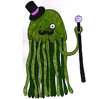 Mr Stinger the Gentleman Jellyfish in green (again) Photographic Print