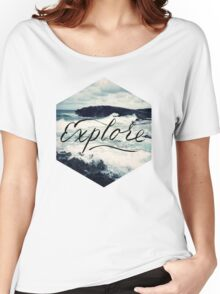 Explore Beach Wave Ocean Typography Photo Women's Relaxed Fit T-Shirt