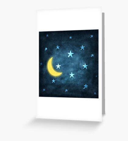 moon and stars Greeting Card