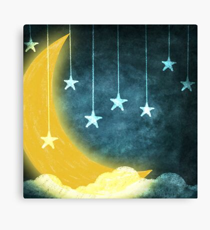 moon and stars Canvas Print