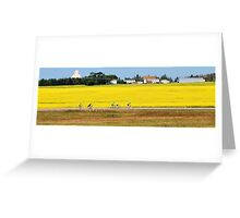 Canola Fields and Cyclists Greeting Card