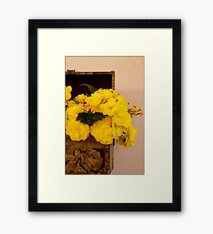 Yellow Begonias in Rose Box - Digital Oil Painting Framed Print