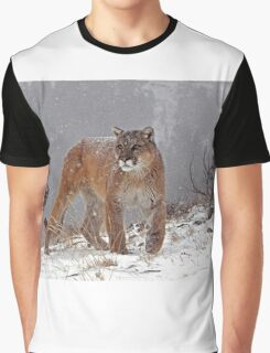 Cougar in heavy snow Graphic T-Shirt
