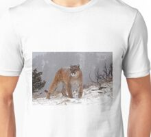 Cougar in heavy snow Unisex T-Shirt