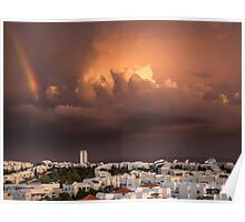Cloudy Dramatic Sky Over City Poster
