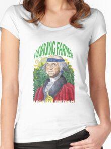"Marijuana ""founding farmer"" George Washington Legalize Freedom t shirt  Women's Fitted Scoop T-Shirt"
