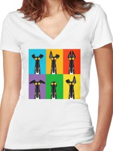 Greyhound Semaphore Women's Fitted V-Neck T-Shirt