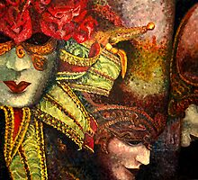 Venetian MASKS- OILS- print by DouceArtifice
