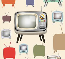 vintage television pattern by naphotos