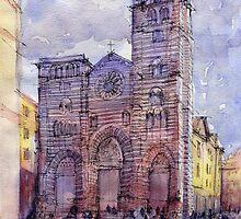 Cattedrale di Genova - schizzo di studio a colori by Luca Massone  disegni