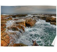 Sea Covered Rocks Poster