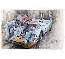 Porsche 917 K GULF Le Mans 1971 Mueller Attwood Poster
