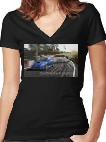 subaru Women's Fitted V-Neck T-Shirt