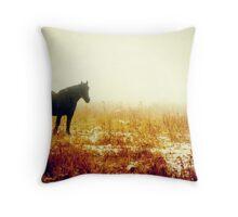 Amish Percherons Throw Pillow